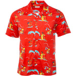Red Block Party Leisure Shirt