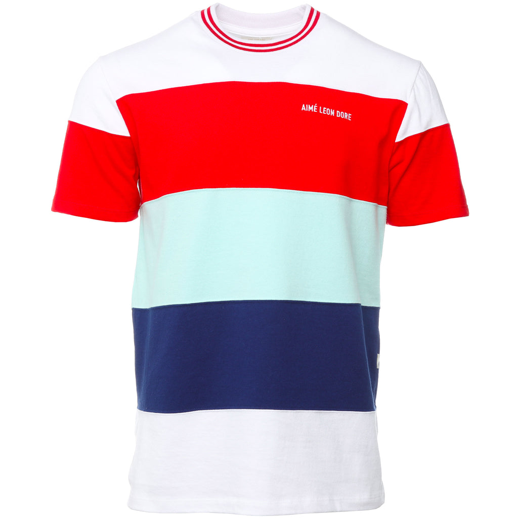 Red and White Ribbed Collar T-Shirt