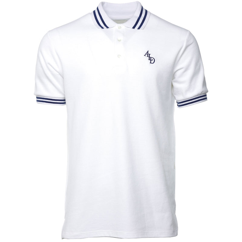 White Monogram Stripe Collar Polo