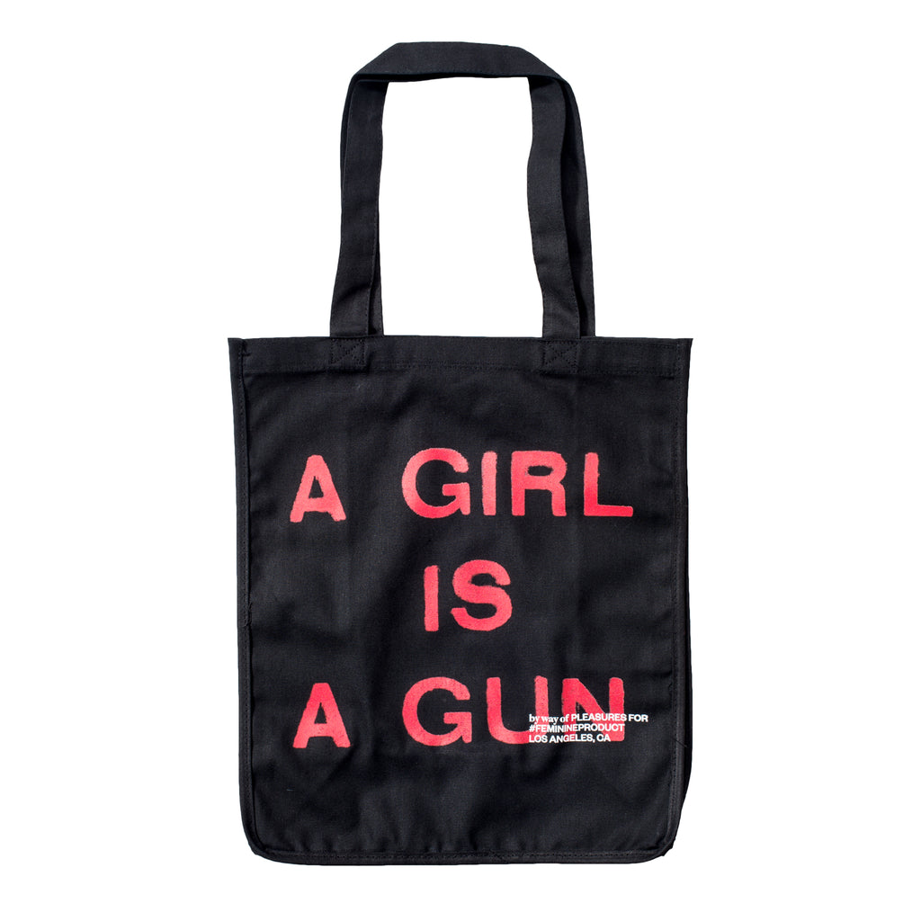 Pleasures - Black A Girl is a Gun Tote Bag