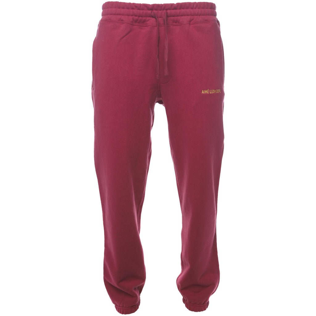 Aime Leon Dore Logo Sweatpants Burgundy Fall Winter 2018 Front
