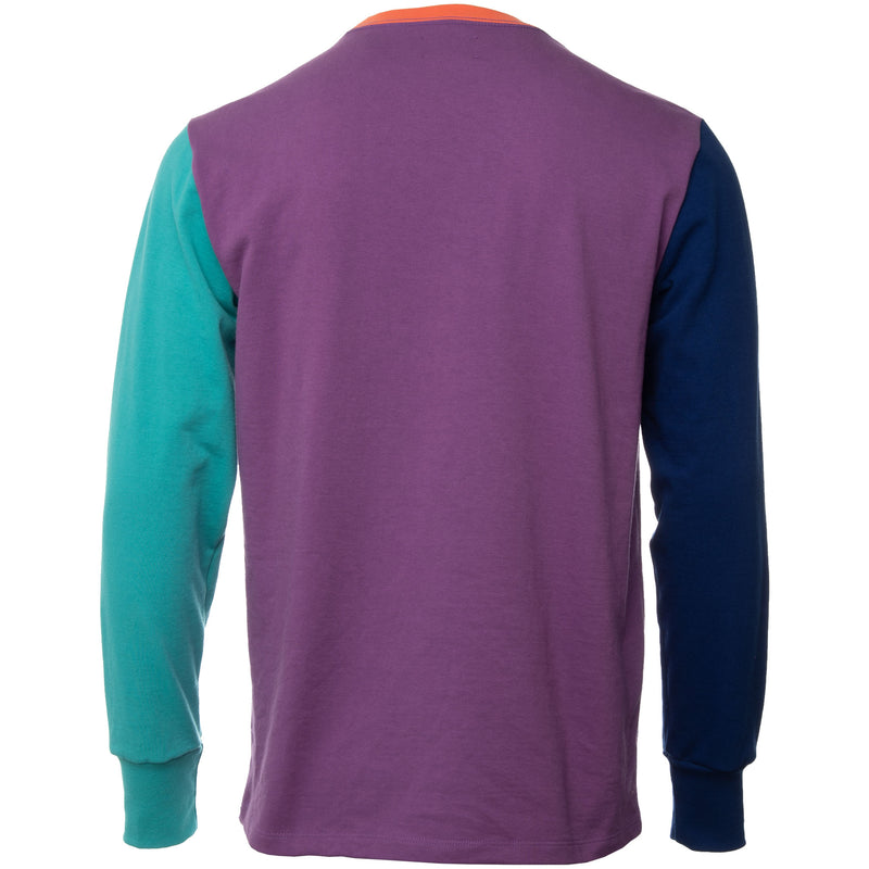 Multicolor Purple Tape Long Sleeve Embroidered Logo T Shirt Back