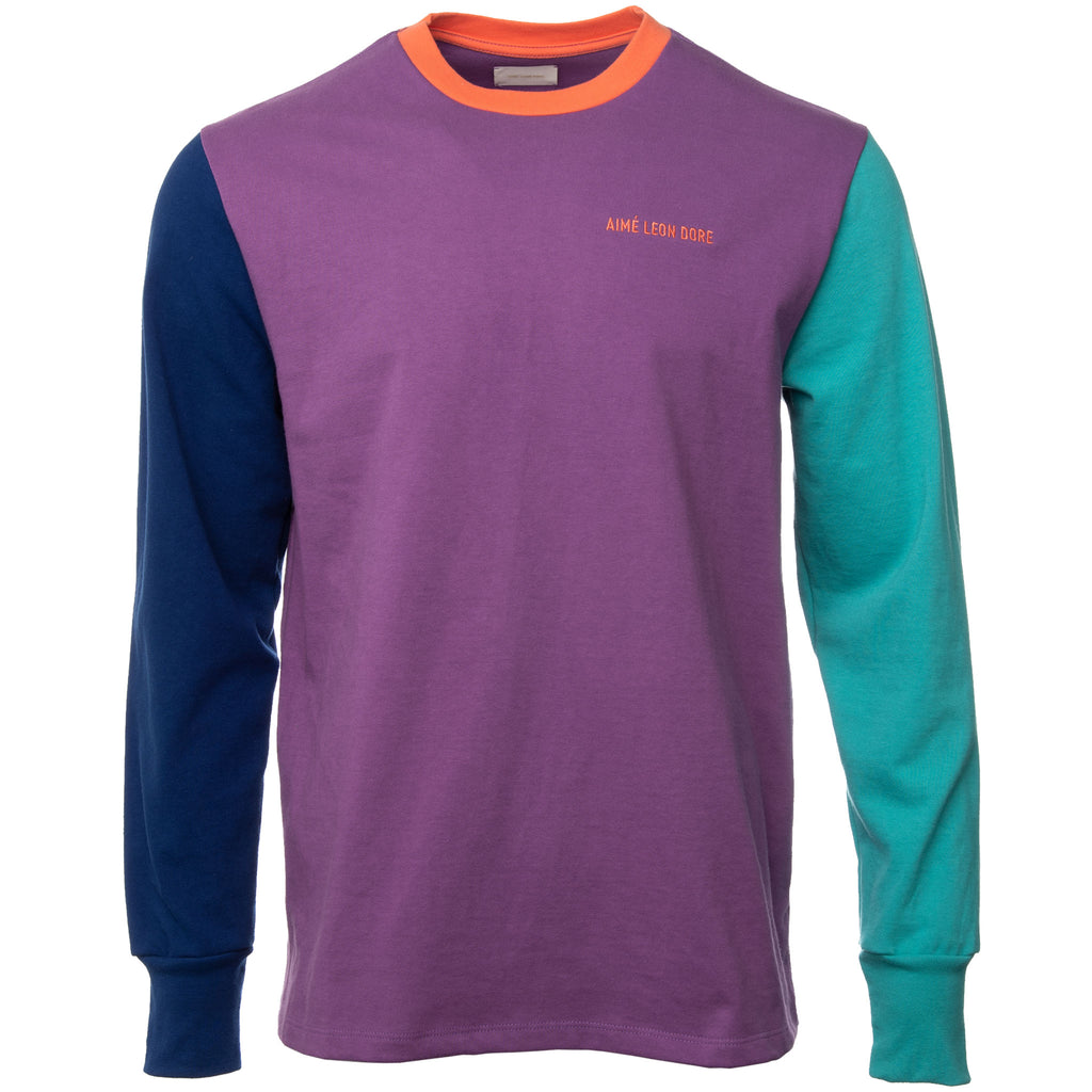 Multicolor Purple Tape Long Sleeve Embroidered Logo T Shirt Front