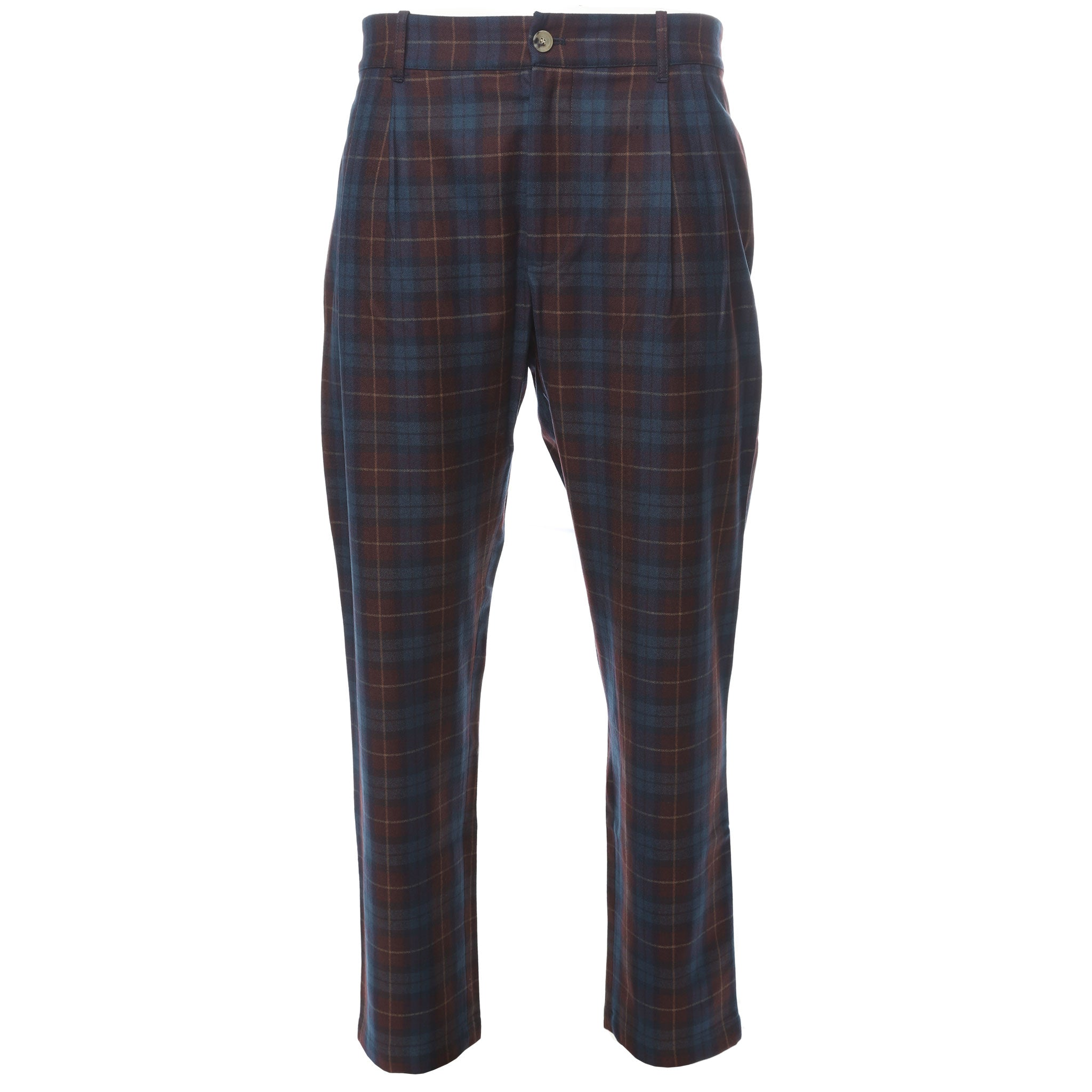 Aimé Leon Dore Navy and Red Wool Plaid Trouser Front