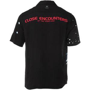 Black Rayon Button Down by Marcelo Burlon County of Milan With Close Encounters of the Third Kind Logo Printed Across Shoulders in Pink