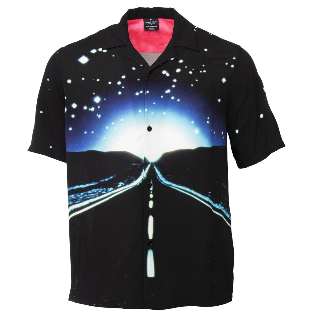 Black Rayon Button Down by Marcelo Burlon County of Milan With Highway Horizon Photo Printed on Front