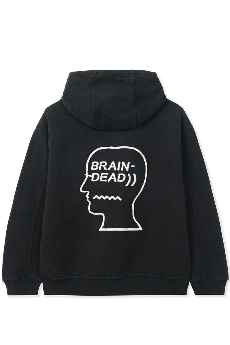 Brain Dead - Black Speed Text Embroidered Logo Head Hoodie