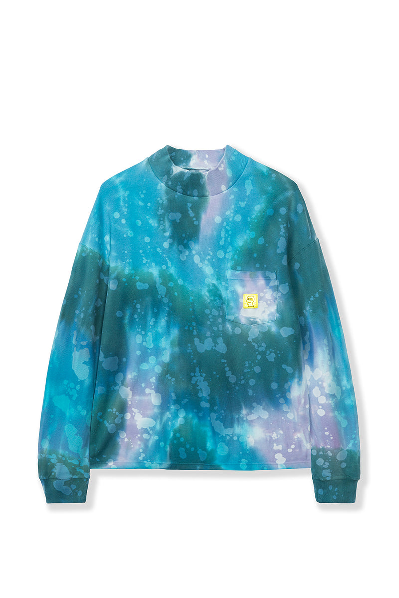 Brain Dead - Blue Dyed Pique Mock Neck Long Sleeve T-Shirt