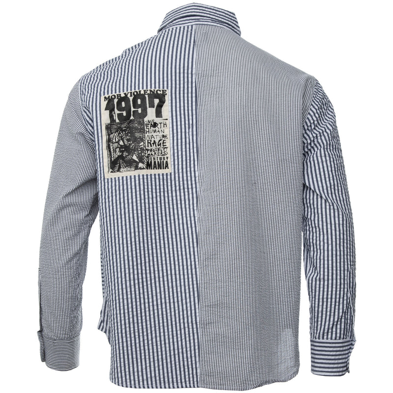 Brain Dead - Navy and White Panelled Long Sleeve Button Down