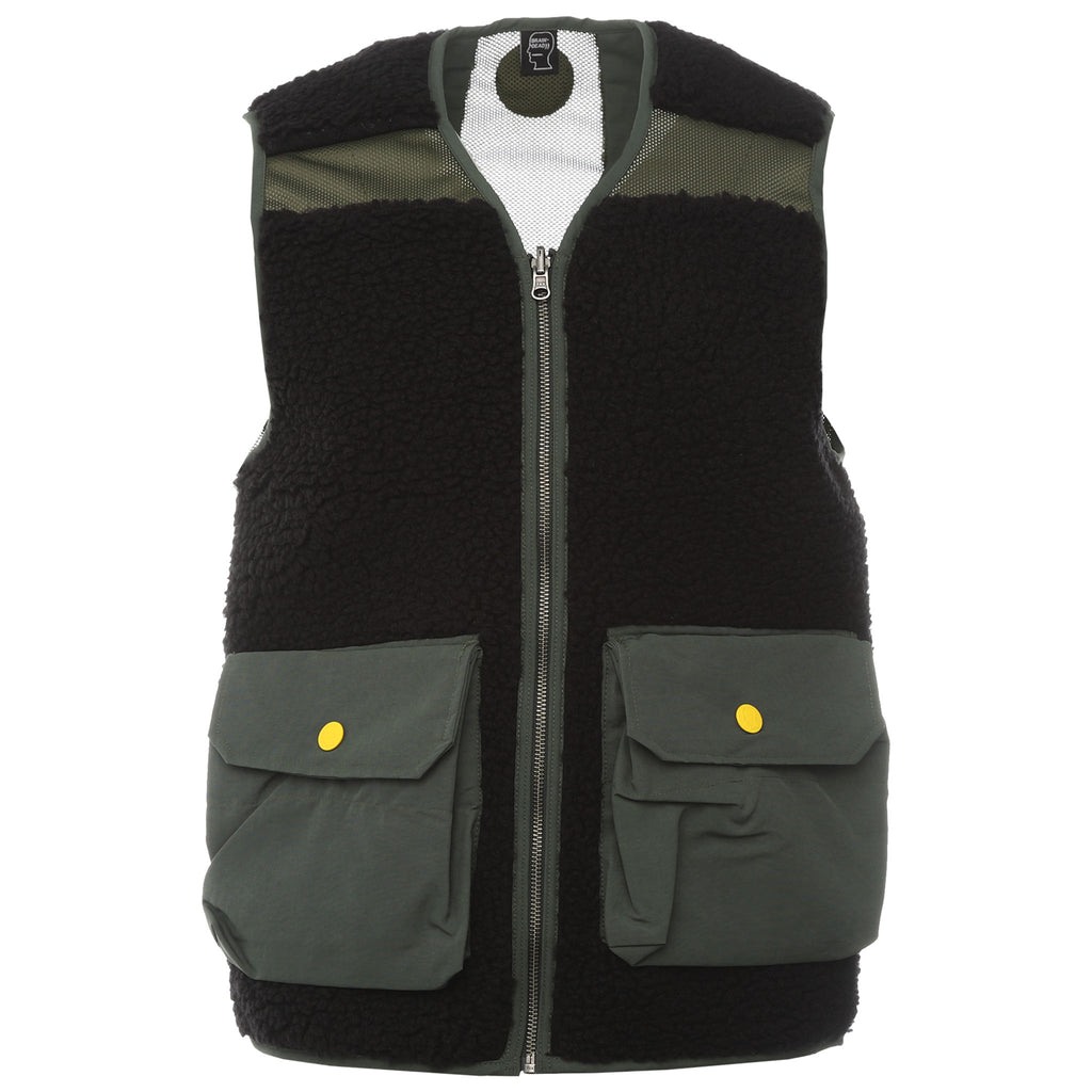 Brain Dead - Olive Green Reversable Fleece Firshermans Vest