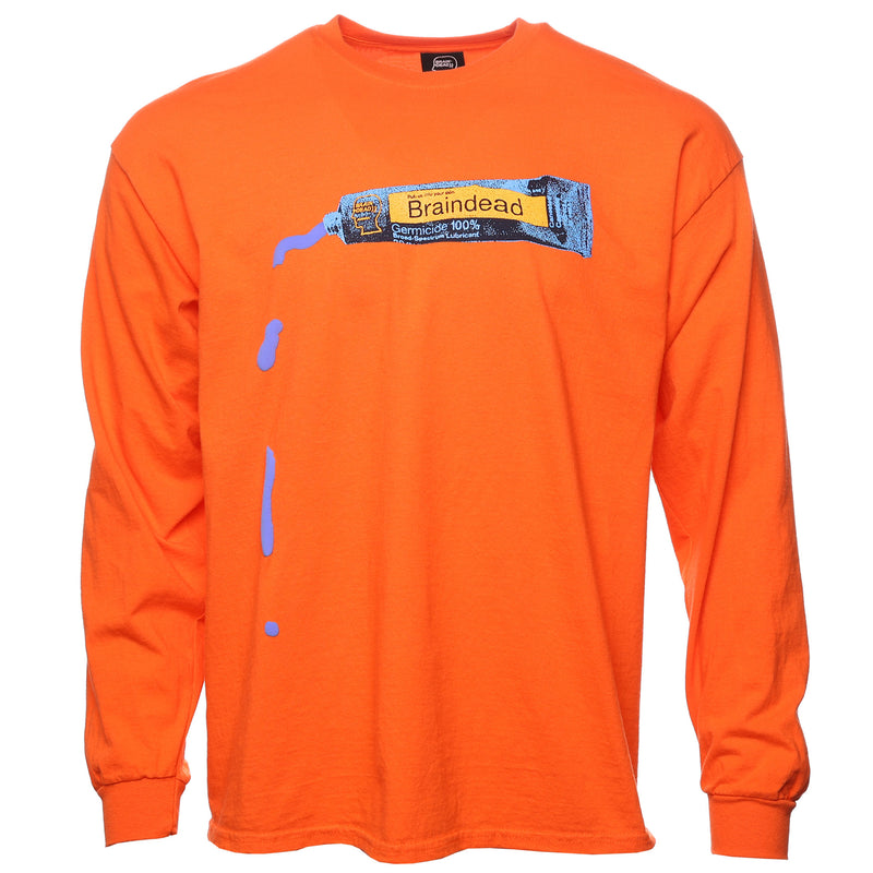 Brain Dead Orange Ooze Long Sleeve T-Shirt Front
