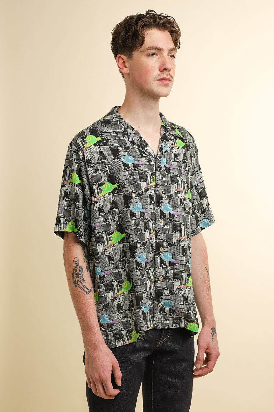 Brain Dead - Black and White Snail Print Hawaiian Shirt