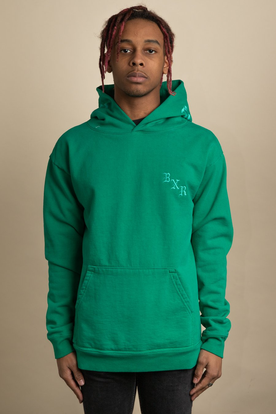 Born x Raised - Green BxR Tonal Embroidered Hoodie