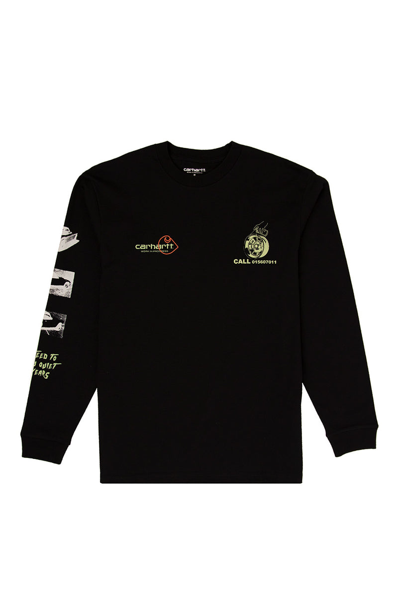 Carhartt WIP - Black Race Play Long Sleeve T-Shirt | 1032 SPACE