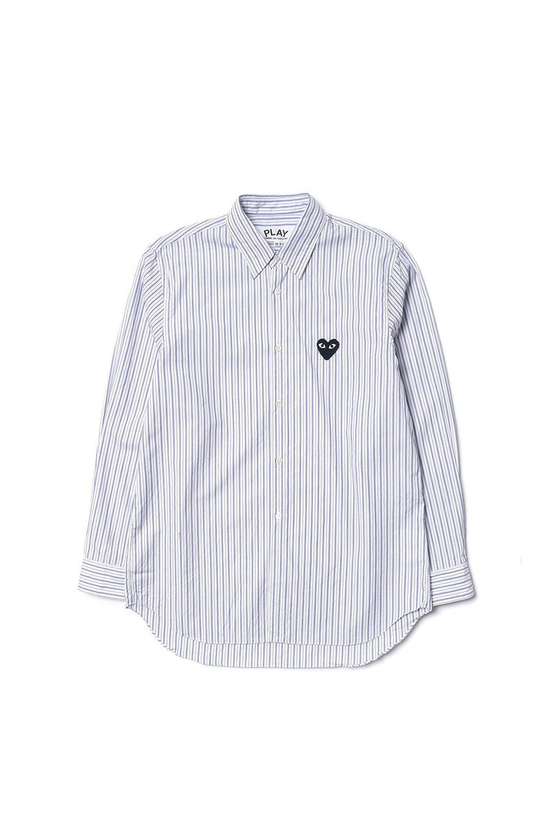 Comme des Garçons PLAY - Blue/Brown Play Striped Shirt | 1032 SPACE