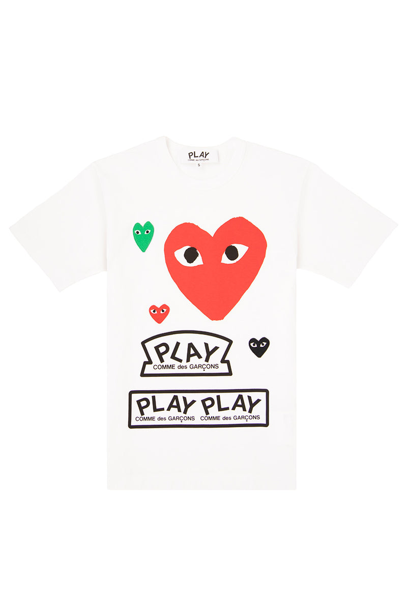 Comme des Garçons PLAY - White All Over Print Play T-Shirt | 1032 SPACE