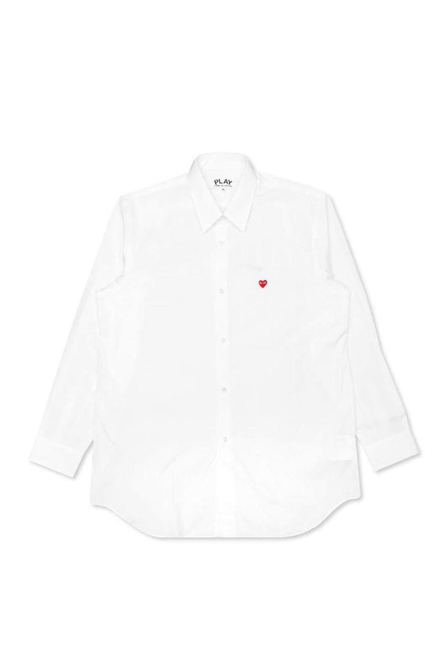 Comme des Garçons - White Red Heart Button Up Shirt | 1032 SPACE