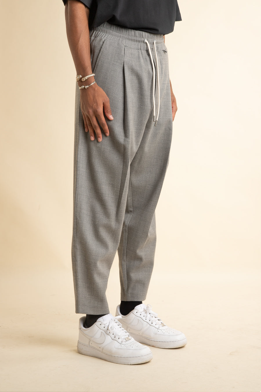 Drole de Monsieur - Grey Cropped Wool Pants