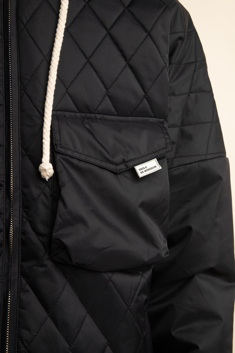 Drole de Monsieur - Black Quilted Patch Pocket Coat