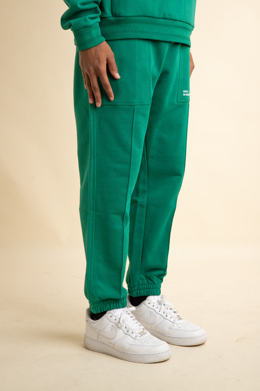 Green Pleated Sweatpants
