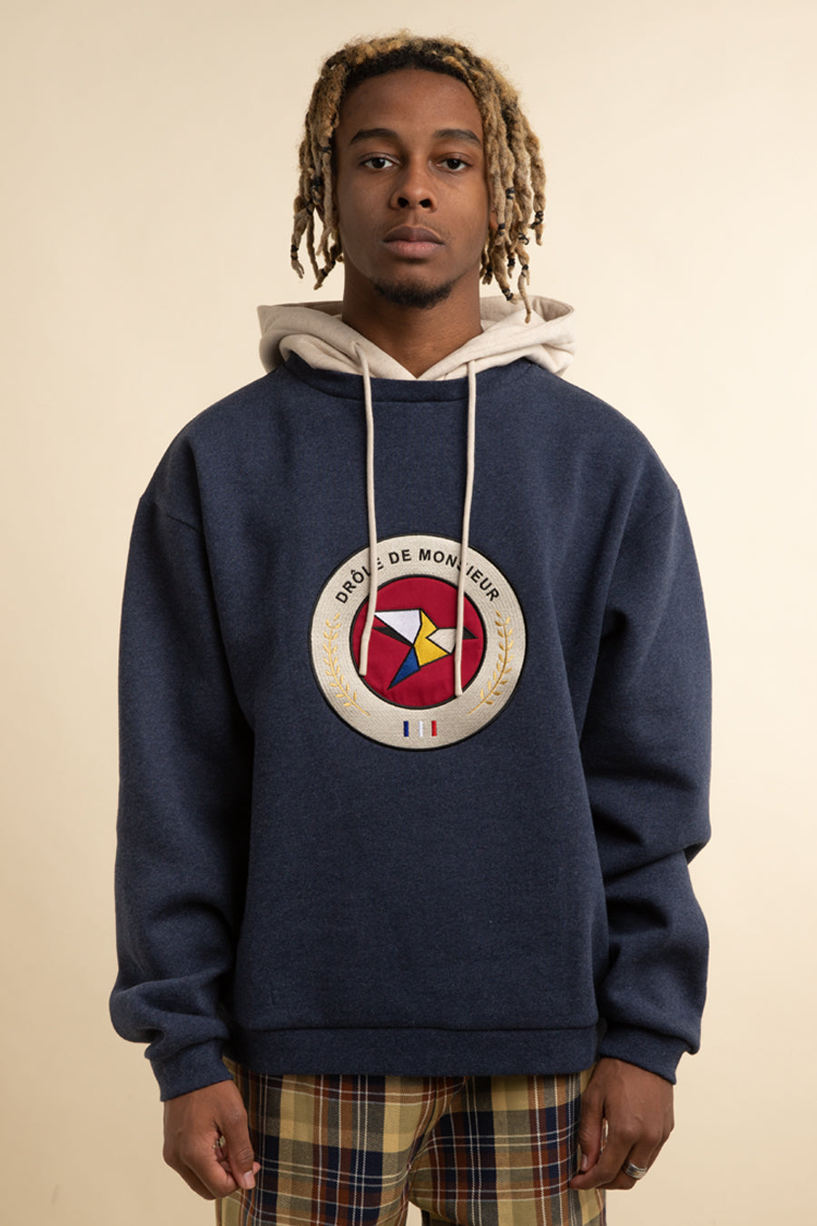 Drole de Monsieur - Navy Brushed Raven Hoodie