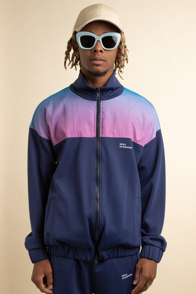 Drole de Monsieur - Navy Shaded Satin Track Jacket