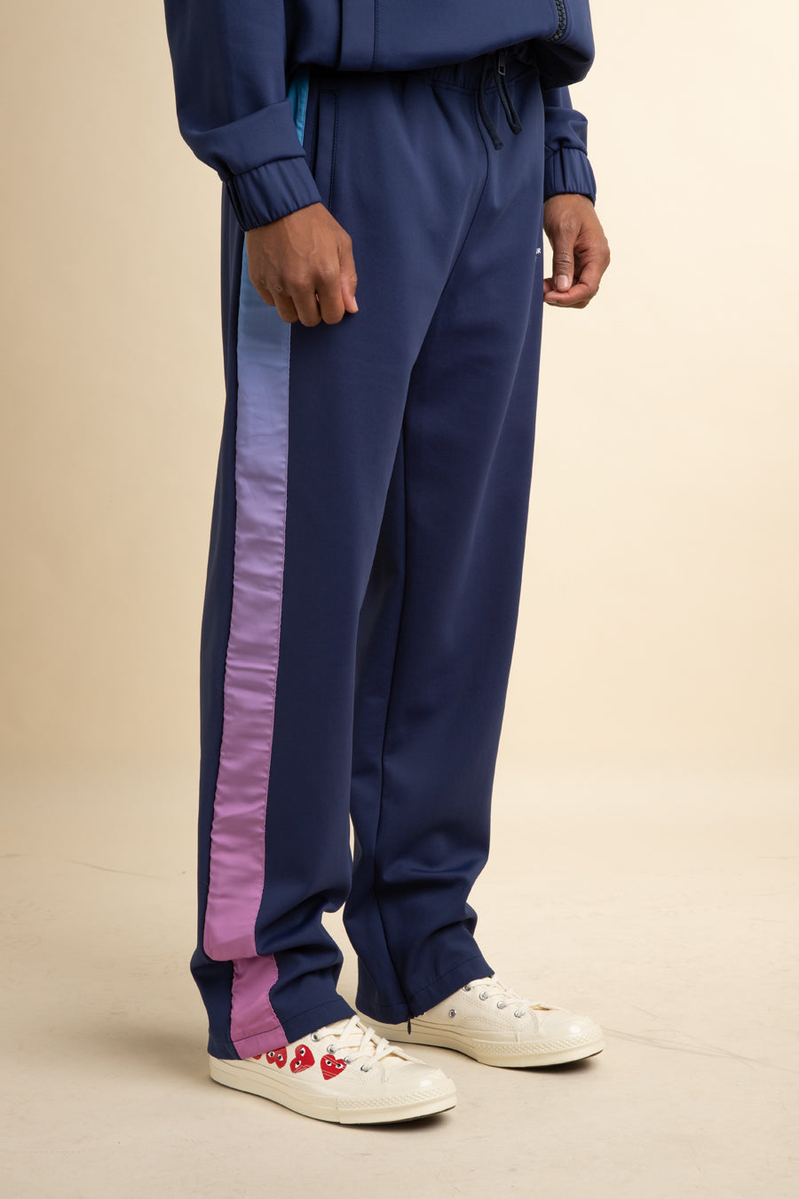 Drôle De Monsieur - Navy Shaded Satin Track Pants