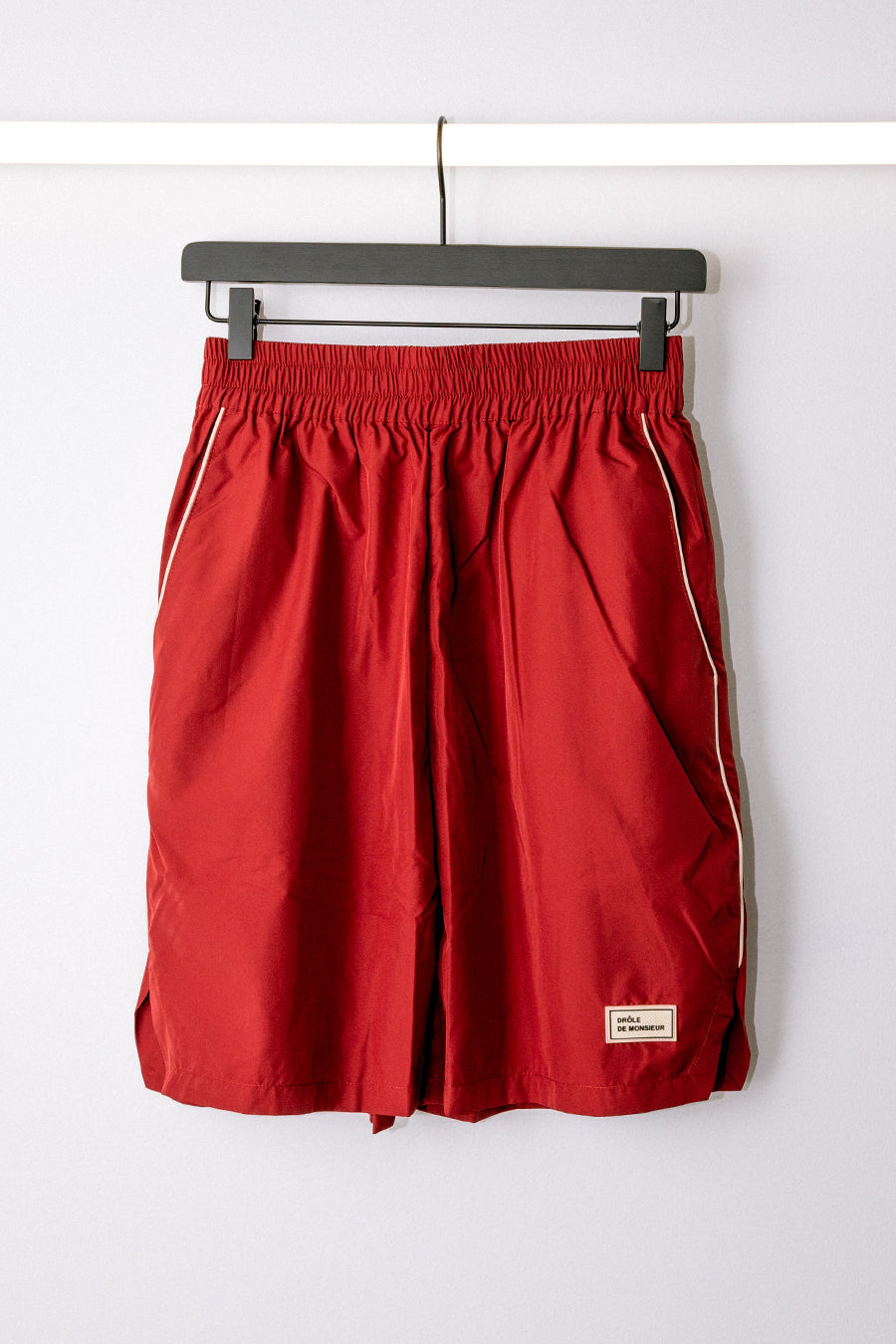 Drôle de Monsieur - Burgundy Nylon Patched Shorts