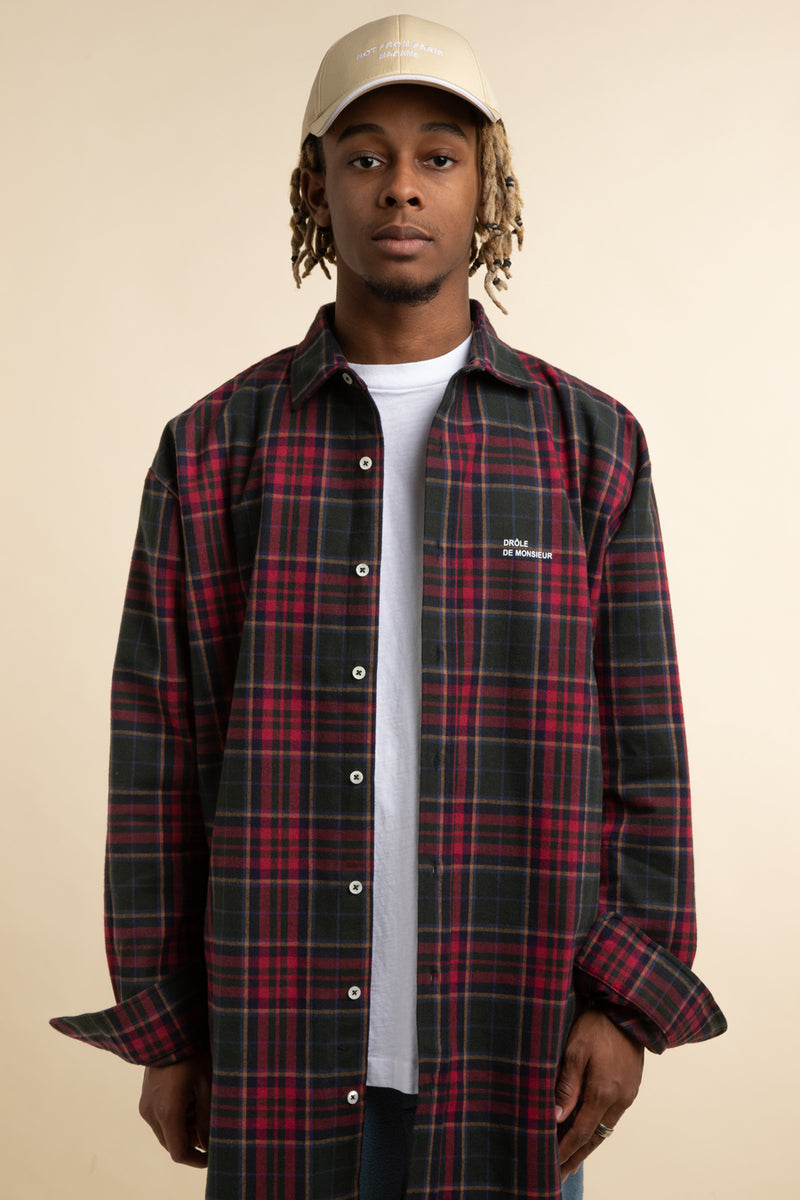 Drole de Monsieur - Red Oversized Cotton Check Shirt