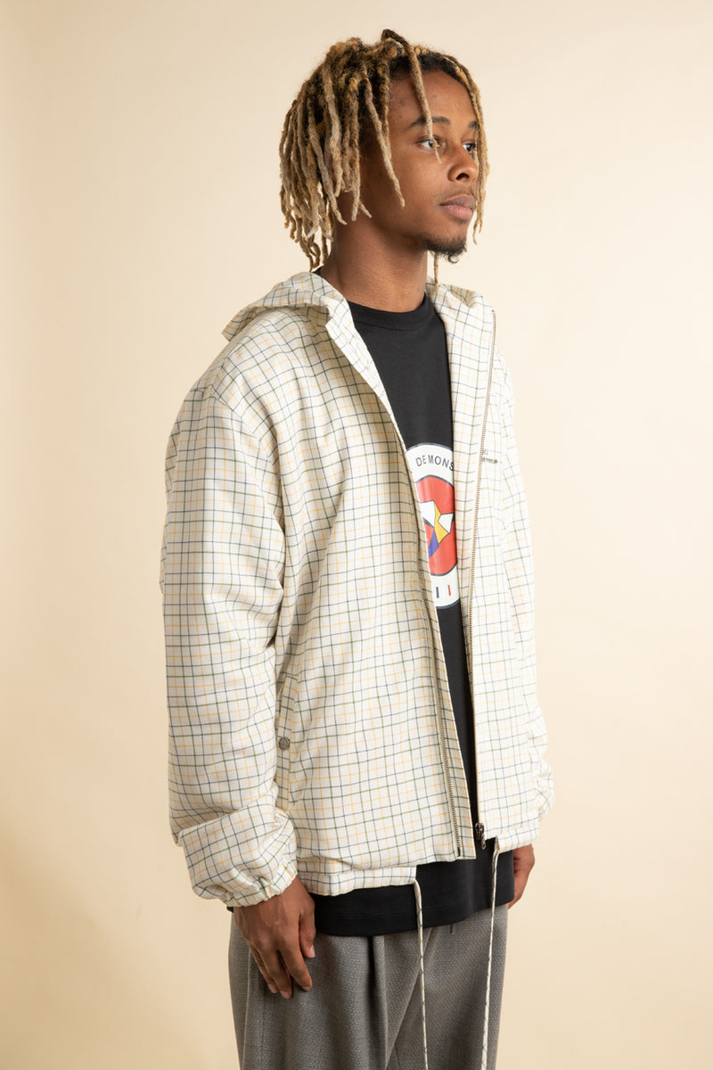 White Hooded Checkered Jacket