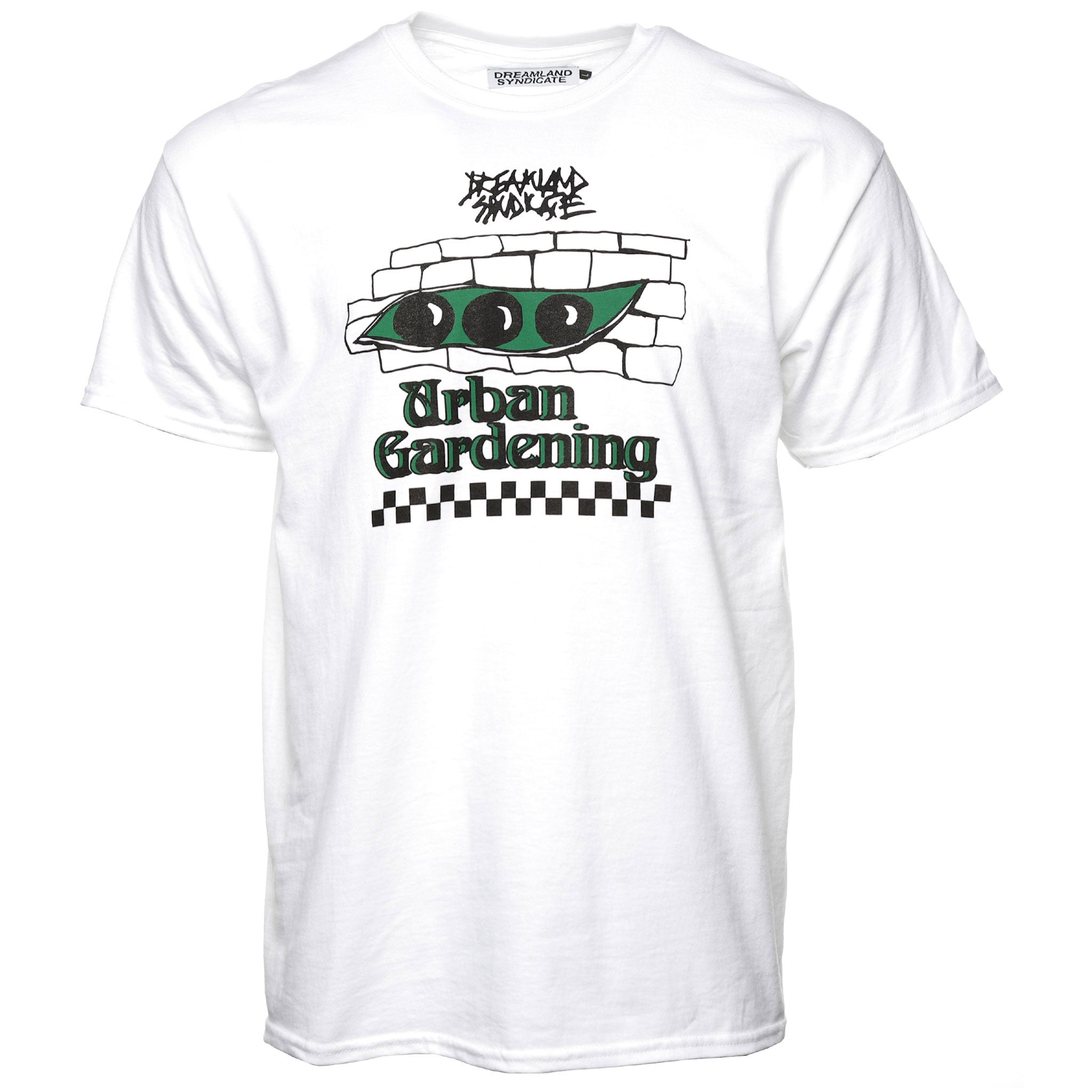 Dreamland Syndicate Urban Gardening Tee White Front Bricks Cement Sand
