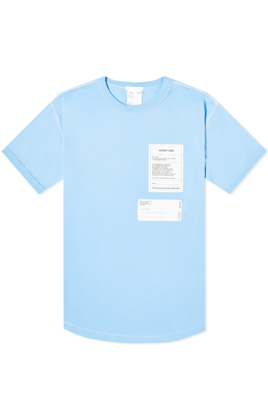 Helmut Lang - Blue Cotton Patch T-Shirt