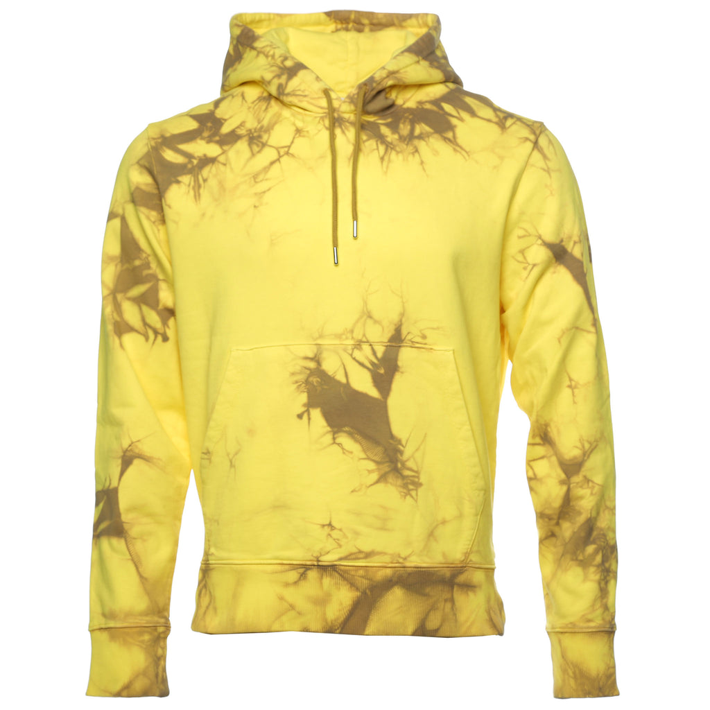 Yellow Tie Dye Dart Back Hoodie Glow and Camel Pullover