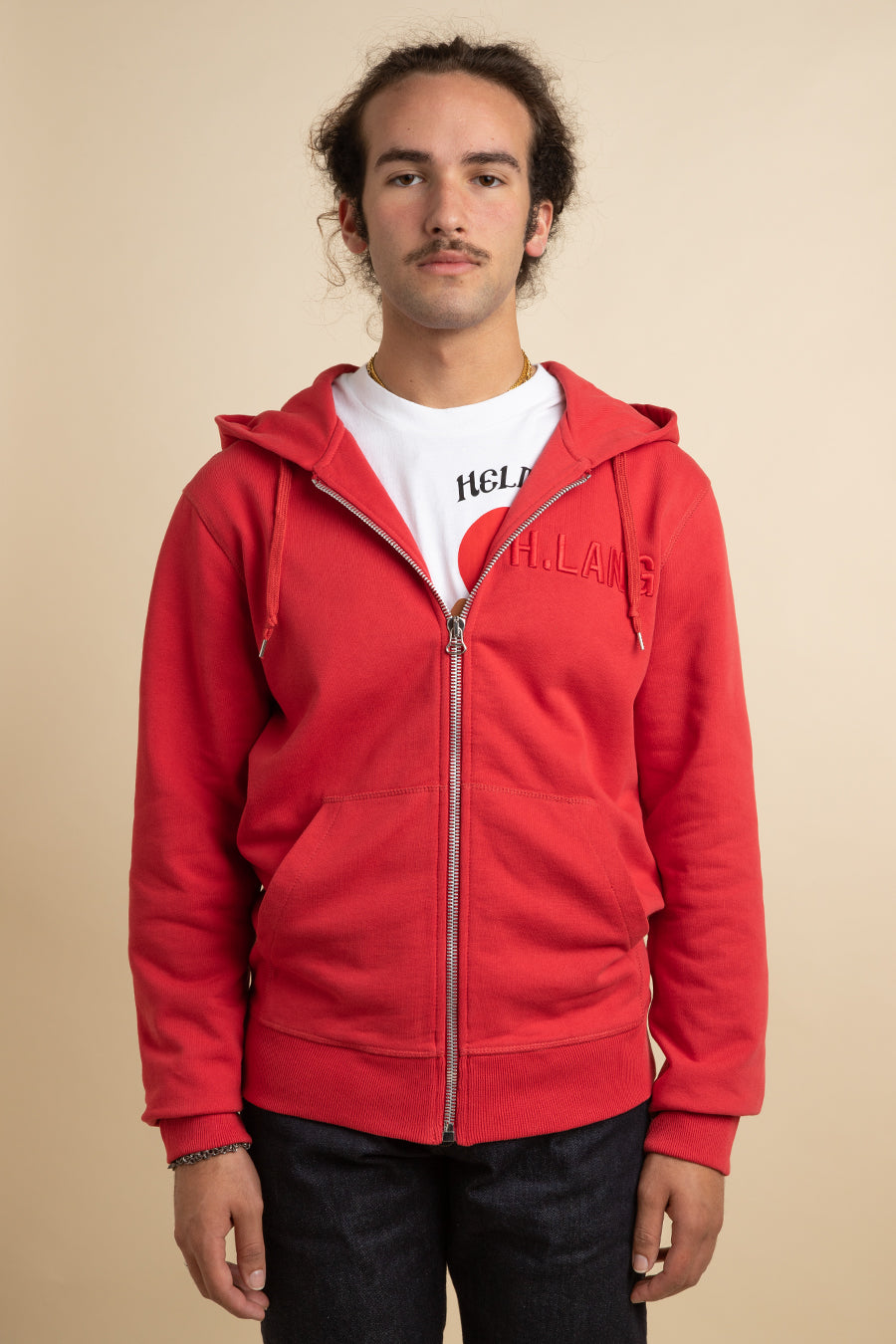 Helmut Lang - Red Oxidized Standard Zippered Hoodie