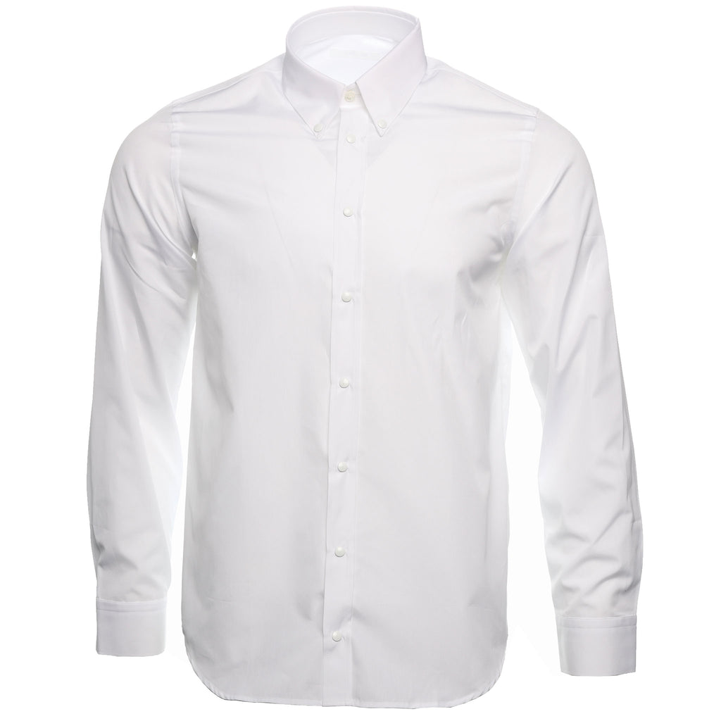 White Italian Poplin Press Stud Dress Shirt