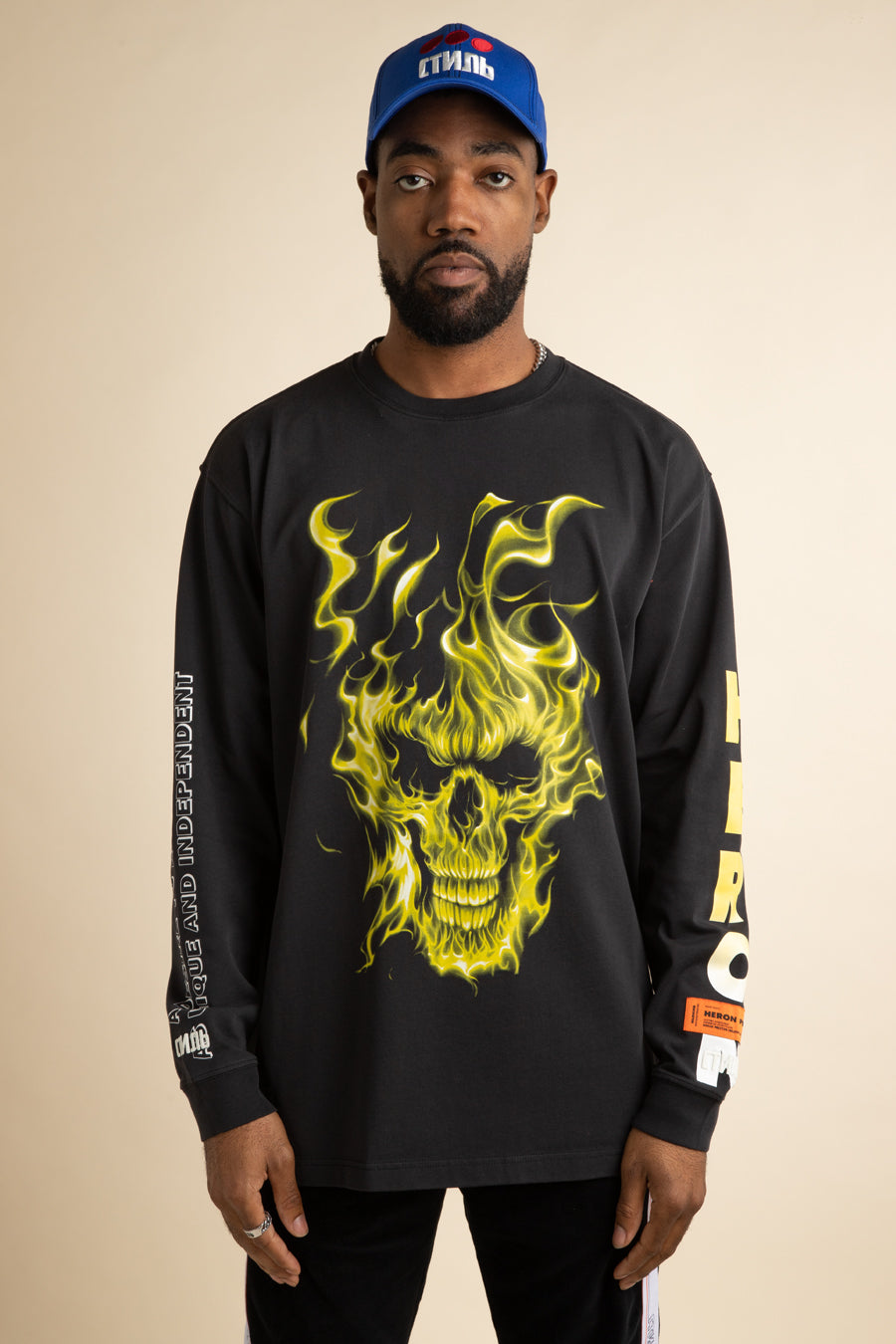 Heron Preston - Black Oversized Skull Long Sleeve T-Shirt