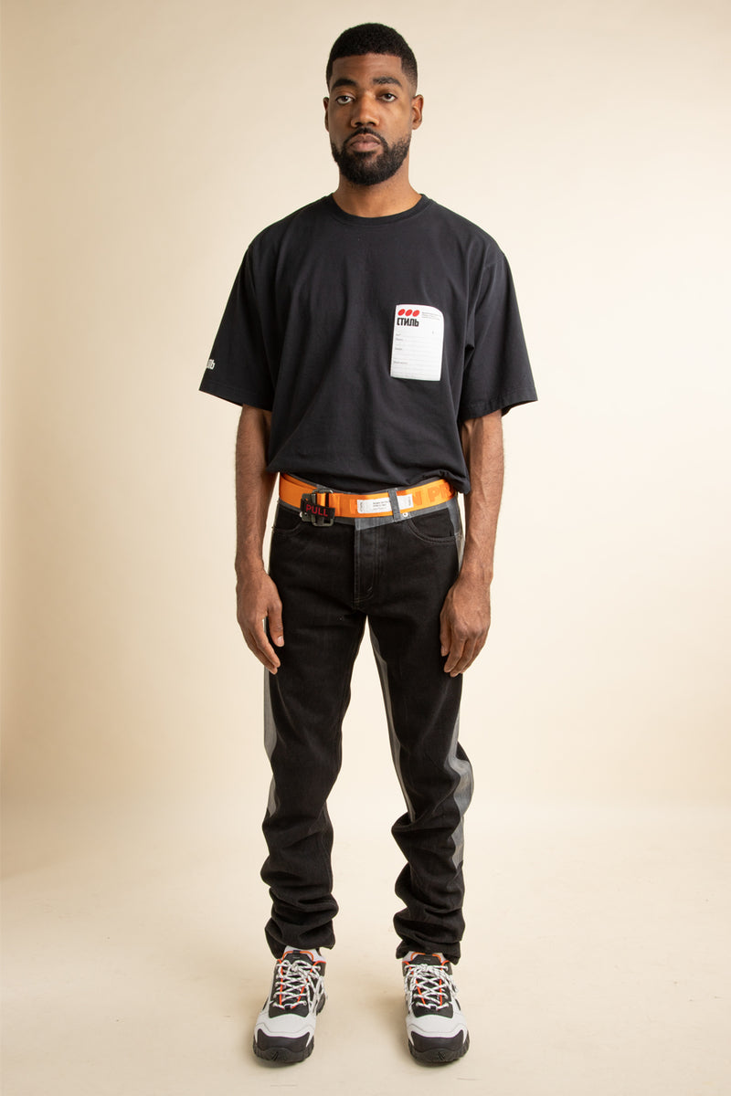 Heron Preston - Black 5 Pocket Tape Jeans