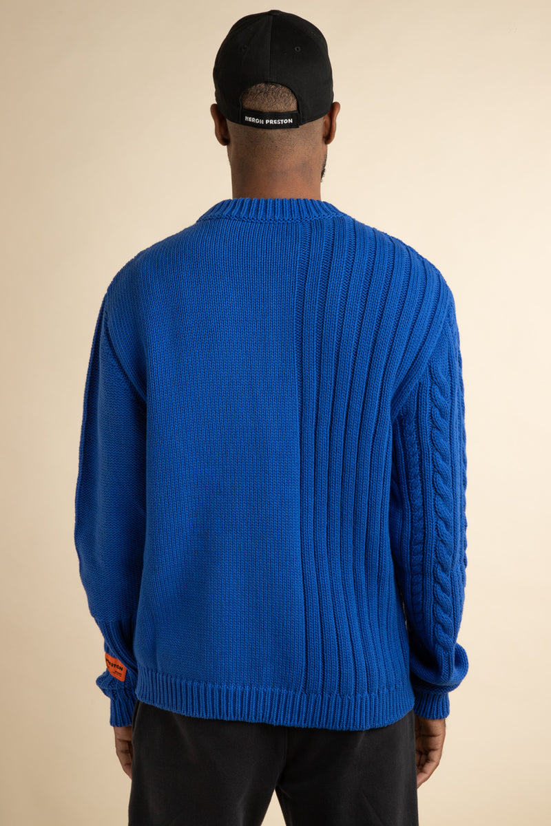 Heron Preston - Blue Textured Cable Knit Sweater