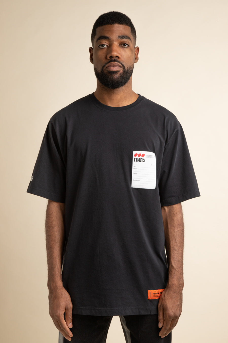 Heron Preston - Black Sticker Label T-Shirt