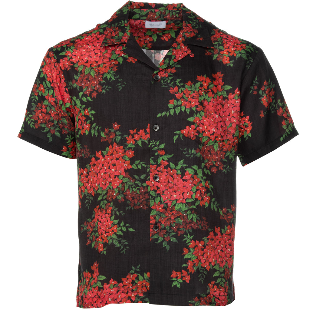 Black Bougainvellea Bowling Shirt
