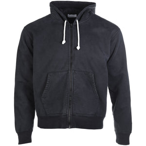 John Elliott Black Washed Replica Zip Up Hoodie Front