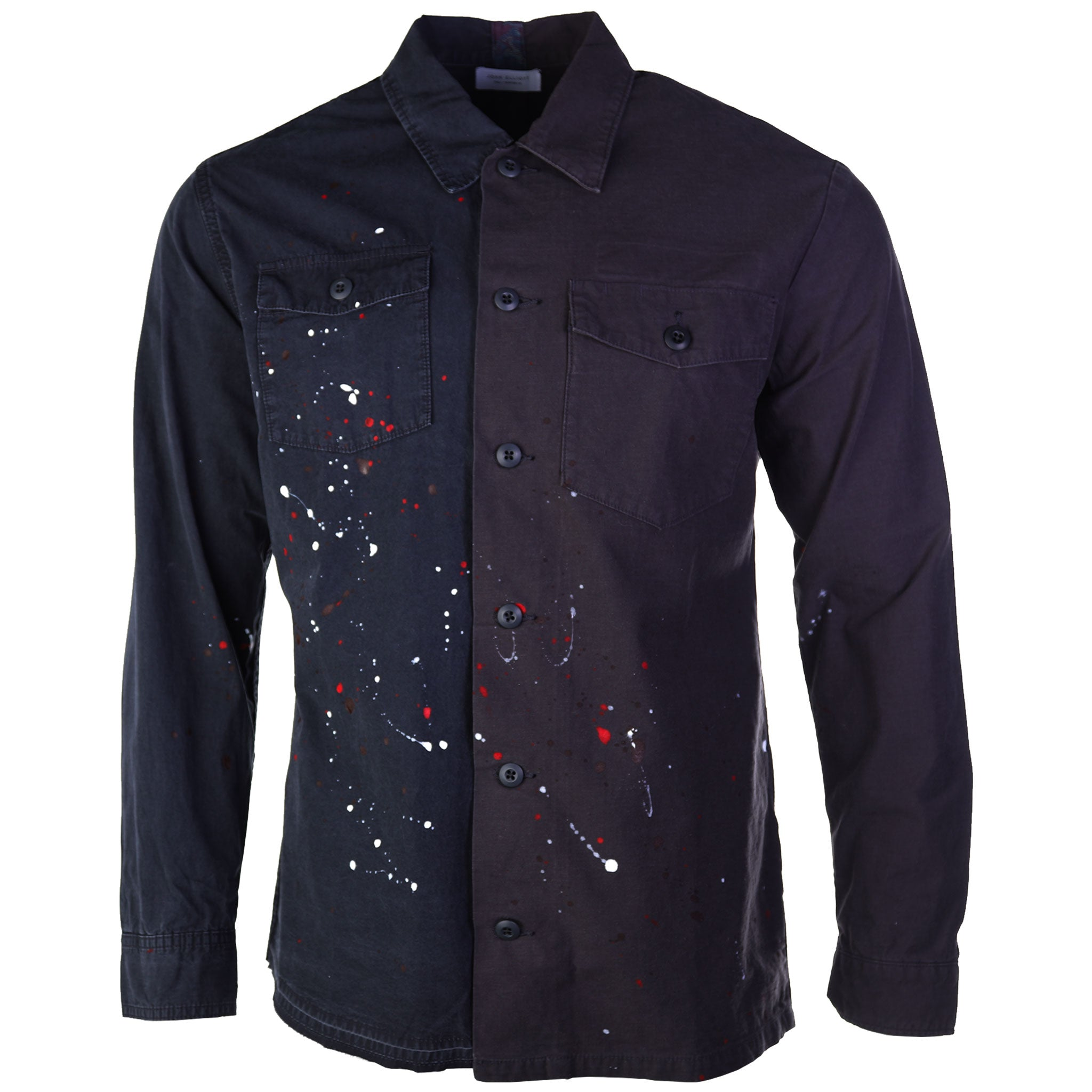 John Elliott Distorted Military Button Down Shirt Delirum Black Paint Splatter 2018 AW18 fall winter