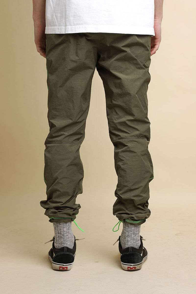 John Elliott - Olive & Neon High Shrunk Nylon Himalayan Pants