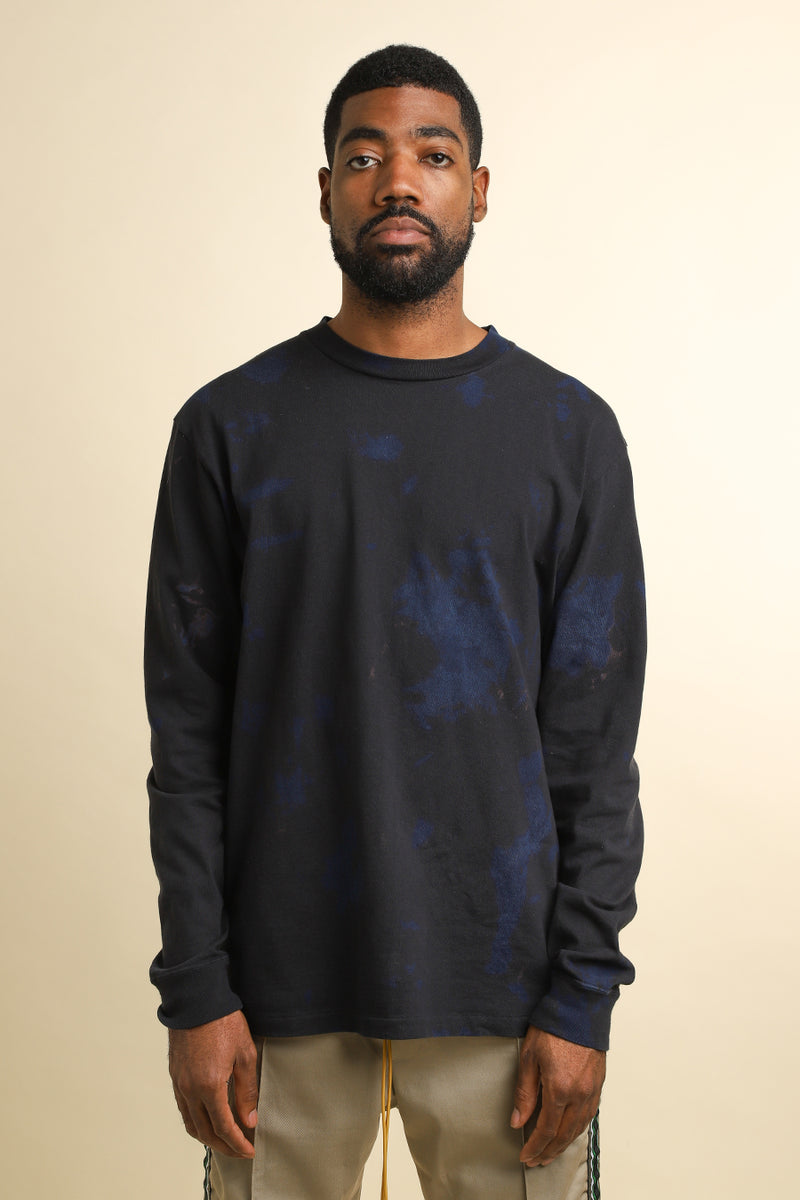 John Elliott - Black & Indigo Double Dye Long Sleeve University T-Shirt