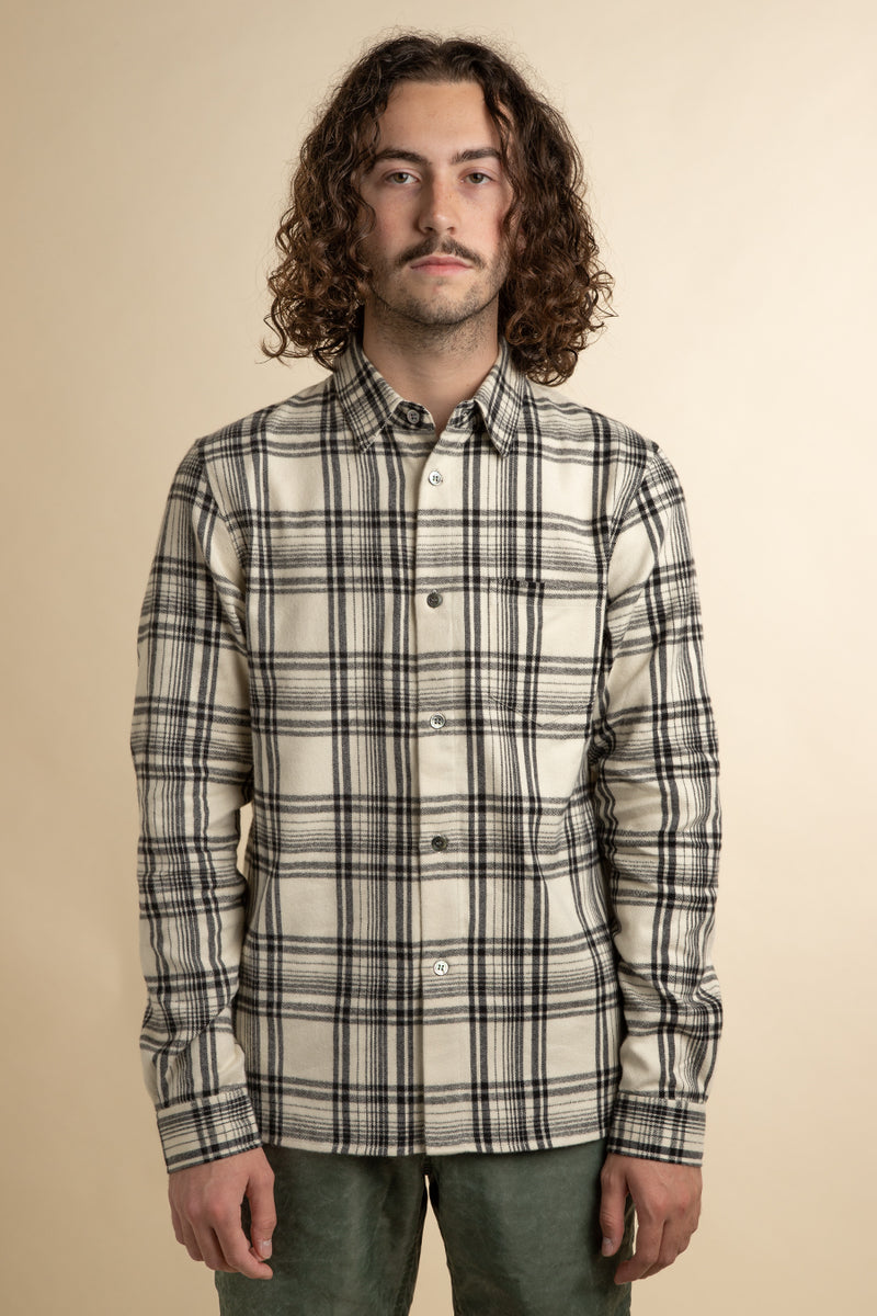 John Elliott - Ivory & Black Straight Hem Flannel Shirt