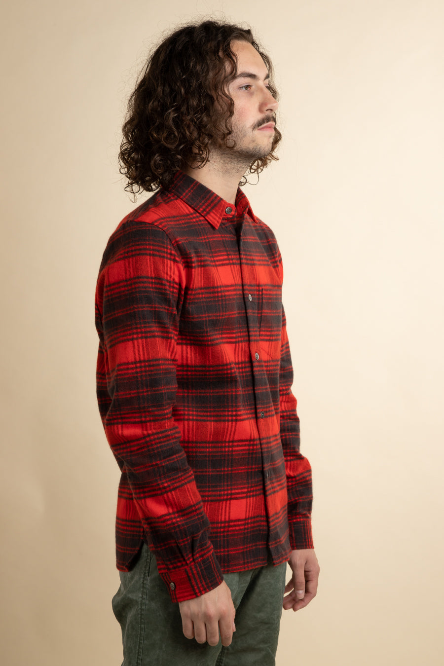 John Elliott - Red & Black Straight Hem Flannel Shirt