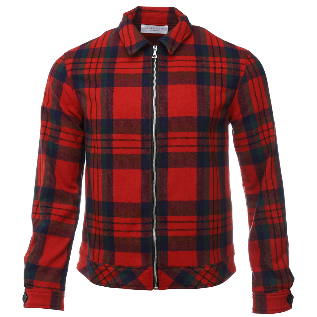 John Elliott Red Plaid Zip Blouson Shirt Jacket Front