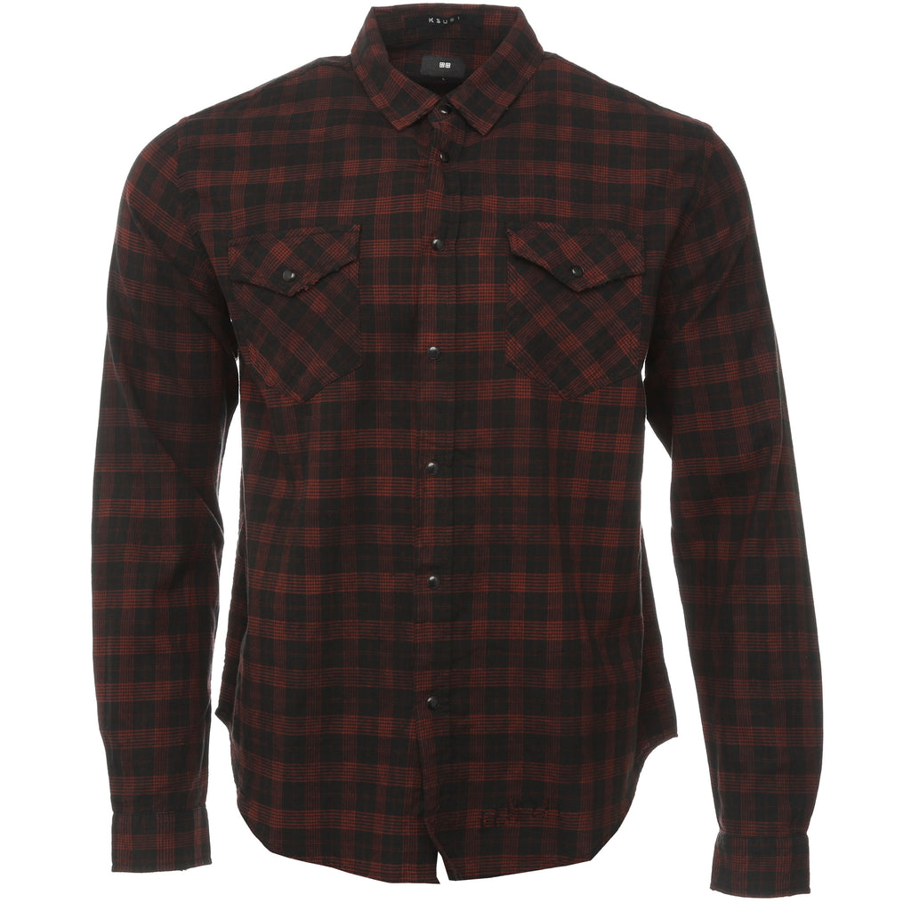 Ksubi Black and Red Plaid Malcome Button Down Shirt Front