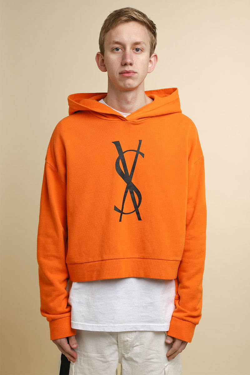 Ksubi - Orange Cropped Fancy Dollar Logo Hoodie