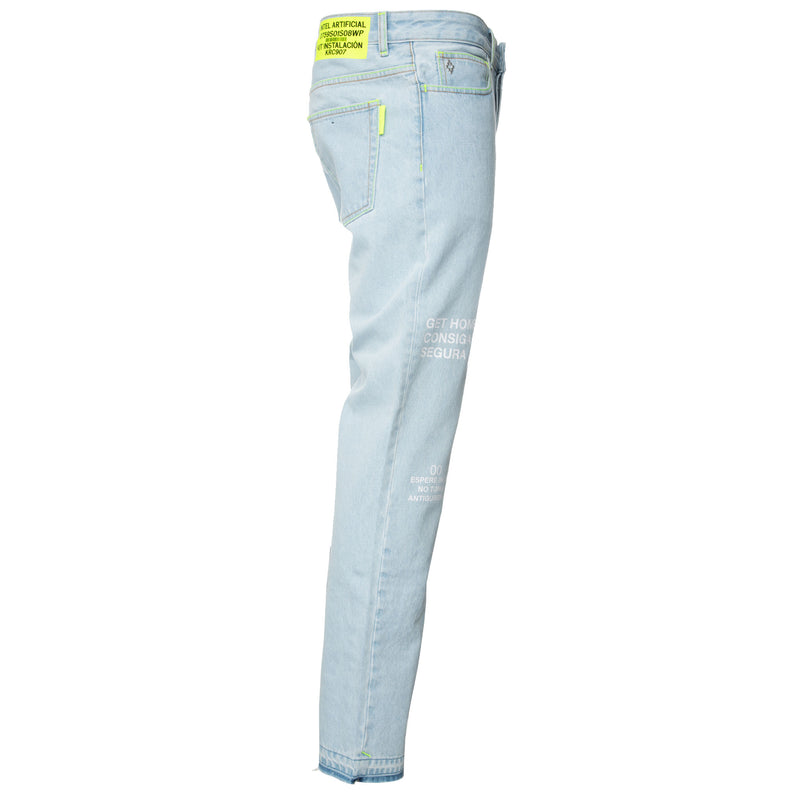 Blue Bleach Wash Loose Jeans